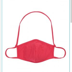 Kids face mask with neck strap, red 2 ply cotton